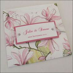 This wallet wedding invitation uses the beautiful patterns from Envelopments. It has a colour co-ordinated front tag with the bride and groom's names attached with a sheer ribbon. £3.75