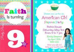 American Girl Pajama Party--Slumber Party Invitation--Birthday--DIY PRINTABLE on Etsy, $12.00