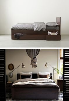 Captivating BRUSALI Bed Frame With 4 Storage Boxes, Brown