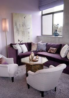 Reverse Of Previous Post With Purple Couch And White Chairs. Not Practical  With Dogs.
