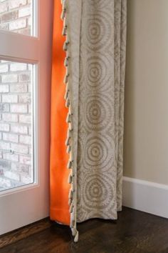 """Drapery -- a Dimitra Anderson favorite: """"Window treatments can instantly transform and complete a room."""" Photo: Fotomokio~ reference about color pop. Love these curtains! Drop Cloth Curtains, Lined Curtains, Colorful Curtains, Curtains With Blinds, Curtain Lining, Bright Curtains, Neutral Curtains, Orange Curtains, Roman Curtains"""
