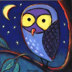 Owl Painting, Whimsical, Cute 4x4 on Panel | GildedOwlJewelry - Painting on ArtFire #MentionMonday #ssps