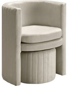 Verlaine Selena Cream Velvet Accent Chair And Ottoman Set Velvet Accent Chair, Accent Chairs, Velvet Chairs, Velvet Stool, Chair And Ottoman Set, Meridian Furniture, Swivel Barrel Chair, Affordable Furniture, Club Chairs