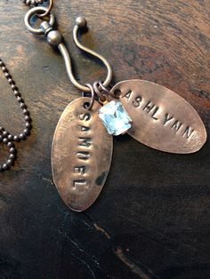Love these Two Custom Stamped Children's Kid's Names by BuffaloGirlsSalvage, $25.00