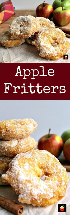 Apple Fritters. Yum! Slices of apple in a crispy light batter then coated in cinnamon sugar. Served warm with a drizzle of syrup, honey or a blob of ice cream.. makes for a perfect dessert! Quick and easy recipe too! | http://Lovefoodies.com
