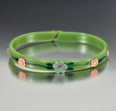 Art Deco Green Flower Celluloid Bangle Bracelet ON HOLD  #Bangle #Flower #Bracelet #intage #Deco #Green #Art #Fantastic #Pendant #Bridal
