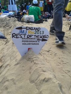 A sign to keep their space on Copacabana beach, World Youth Day, Rio de Janeiro 2013