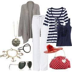 Shoes and purse are adorable! Love red and navy together.