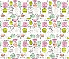 Kitchen appliances fabric by littlesmilemakers on Spoonflower - custom fabric
