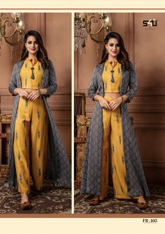 Dresses - Define your style with colours and patterns that ooze elegance by Shivali introduces fancy 3 piece collection (Croptop with a bottom & shrug) Fusion Beats Approx MRP 2100 Rs Per Piece Shrug For Dresses, Indian Gowns Dresses, Indian Fashion Dresses, Dress Indian Style, Indian Designer Outfits, Indian Outfits, Indian Style Clothes, Ethnic Fashion, Stylish Dresses For Girls