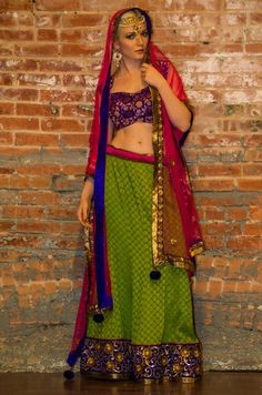 ON SALE> Green Pink Blue Banarsi Lehenga Choli Blouse Design, Blouse Designs, Lehenga Collection, Gold Sequins, Indian Fashion, Party Wear, Pink Blue, Sari, Bridal