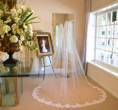 Blush Alencon Lace Veil ~ Cathedral Mantilla Veil ~  Cathedral Length Wedding Veils ~ Wedding Veils Mantilla ~  Mantilla Veil / Blush / www.couturesbylaura.etsy.com