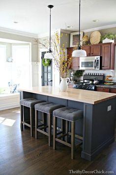Paula Deen Dogwood Kitchen Island Cobblestone Finish Black Stainless Steel And