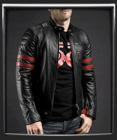 Hybrid    1970's cafe racer style retro leather jacket.