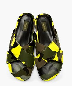 Leather and textile sandals in tones of green and fluorescent yellow. Camouflage print and patchwork effect throughout. Criss-crossing straps at vamp.  http://www.zocko.com/z/JEYpt
