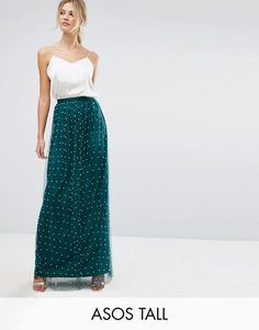 ad5447ea47 ASOS TALL Faux Pearl Embellished Tulle Maxi Skirt - Green Asos, Green Tulle  Skirt,