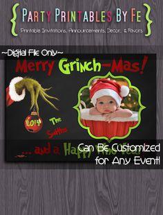 Printable Christmas Party Invitation or Card~ Grinch Holiday Christmas Card ~ I50