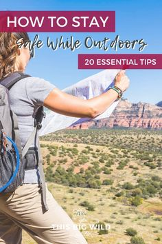 Do you worry about staying safe in the outdoors? Whether you are hiking, backpacking, kayaking, bouldering or anything else, these 20 outdoor adventure safety tips will help keep you safe. hiking safety tips | outdoor safety tips | wilderness survival skills | wilderness safety | survival tips | hiking tips and tricks