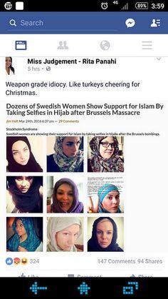 Zweden: Een voorbeeld van een Europees geïslamiseerd land! Het toppunt van landverraad! TientallenZweedse vrouwen laten hun support voor de islam zien door Selfies te maken in hijab na de Brussel…