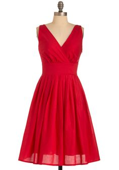 Glamour Power to You Dress in Crimson - Red, Solid, Pleats, A-line, Sleeveless, Vintage Inspired, 50s, Casual, Mid-length