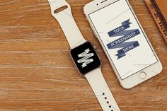 This high-quality photo features an Apple Watch and iPhone Perfect to show off any kind of app, website or media project. Web Mockup, Mockup Templates, Apple Watch Iphone, Wooden Desk, Cool Logo, Business Card Logo, Iphone 6, Web Design, This Or That Questions