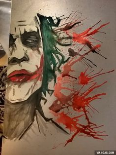 Ledger Joker painted with watercolors and one single brush.