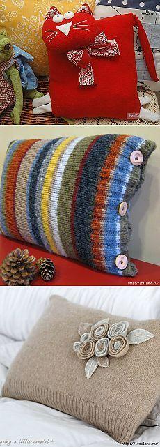 49 прекрасных идей. Подушки из старого свитера .