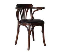 Ξύλινες Καρέκλες : Πολυθρόνα Σκούρο Καρυδί/PU Σκ.Καφέ Ε703