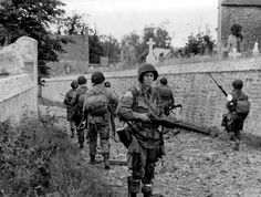 82nd Airborne Division at the church at St.Marcouf  Normandy 1944