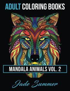Animal Mandala Designs Adult Coloring Book Art Fun Stress Relieving Patterns New