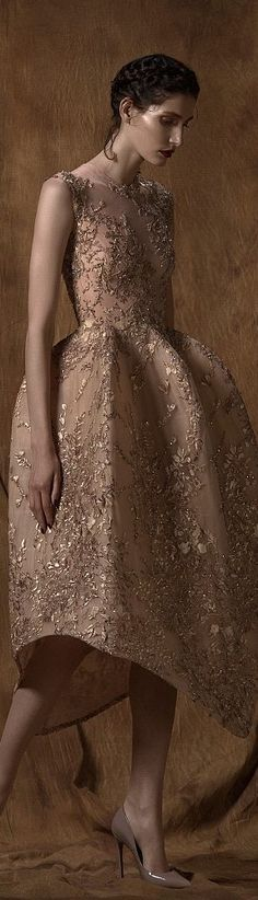 I love how the color matches her skin, so the details look like they are a part of her! By Saiid Kobeisy. Couture Fashion, Runway Fashion, High Fashion, Beautiful Gowns, Beautiful Outfits, Couture Dresses, Swagg, Dream Dress, Saiid Kobeisy