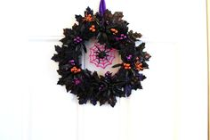 by Amy Guerin on Etsy Cd Wall Art, Black Leaves, Black Sparkle, Orange And Purple, Silk Ribbon, Vintage Items, Etsy Shop, Wreaths, Amy