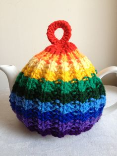 Hand Knitted Medium Rainbow Rib