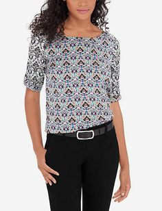 Mixed Print Harper Top from TheLimited.com