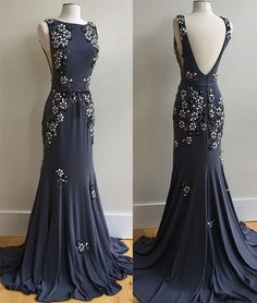 Unique Mermaid Bateau Open Back Dark Navy Long Prom Dress with Appliques,MB 153