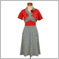 Vintage 1930s Dress and Bolero in Chevron Nautical Theme by Vindemial Vintage, via Flickr - A swoon-worthy little outfit.