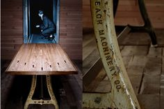 Bowling Lane table we make with vintage Machine legs. Bowling lane is out of Omaha nebraska