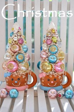 Holiday Sparkle Pink gingerbread Christmas bottle brush trees