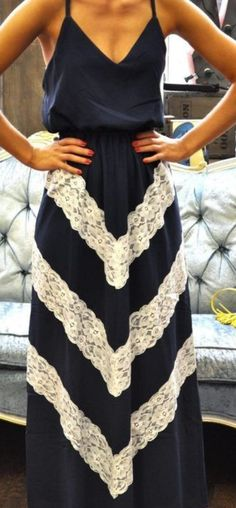 For brother's wedding - Navy and White-Lace V-Patterned Maxi Dress
