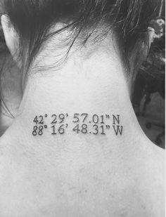 Coordinates neck tattoo. My grandparents cottage in Wisconsin.