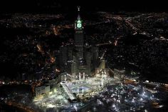 Makkah (Mecca) at Night: View of Masjid al-Haram, Abraj Al Bait Towers (Makkah Tower or Mecca Clock Tower)at night. Makkah Tower, Mecca Tower, Hajj Pilgrimage, Masjid Al Haram, High Building, Mekka, Grand Mosque, Night Time, Empire State Building