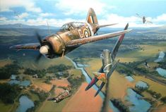 """'Charmed Life' by Nicolas Trudgian."""" It shows Harry Griffiths Buffalo of No 453 Sqn RAAF, during the air combat with 64th Sentai Ki-43s over Kuala Lumpur on 22 Dec 1941"""