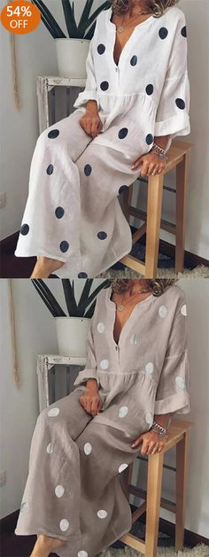 Bohemian V-neck Polka Dots Women Maxi Dress- sylvie Look Fashion, Trendy Fashion, Trendy Style, New Yorker Mode, Bohemian Mode, Romantic Outfit, Womens Fashion Online, African Dress, African Fashion