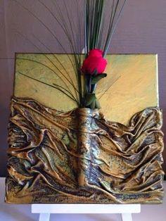 Cuadro con tela y flor