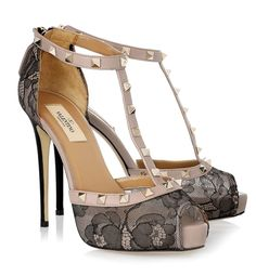 Valentino studded leather and lace sandals