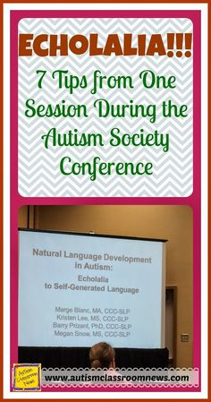 Echolalia: 7 Tips from One Session During the Autism Society Conference.  This post has some really great suggestions I have not seen in many other places.  Moving kids from echoing to functional speech can be a tricky and challenging task.  Great job briefly summarizing what you learned on this important topic!!  Read more at:  http://www.autismclassroomresources.com/echolalia-7-tips-from-one-session/