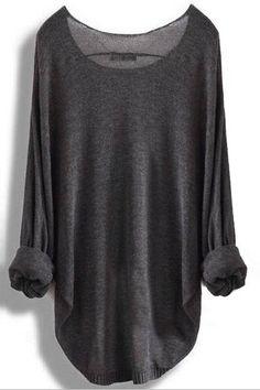 Bat Sleeve Loose Thin Sweater - YOINS