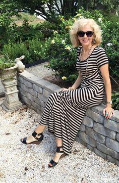 Fashion over 50, striped maxi dress and Sam Edelman shoes.