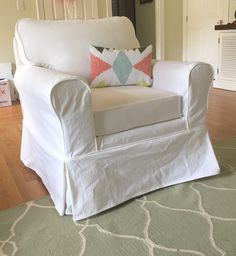 Chair covered in whi