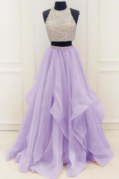 Two Piece Long Open Back Pink / Lavender Prom Dress with Beading - - two piece pink long prom dresses, luxury beading graduation party gowns, chic tulle tiered junior prom dresses for teens Source by Lavender Prom Dresses, Prom Dresses Long Pink, Prom Dresses For Teens, Hoco Dresses, Sweet 16 Dresses, Quinceanera Dresses, Dance Dresses, Cute Dresses, Beautiful Dresses